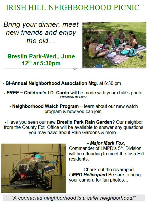 IRISH HILL NEIGHBORHOOD PICNIC