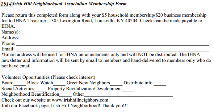 2014 IHNA Membership Form